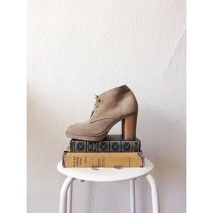J.CREW tan suede McAlister high heel ankle boots